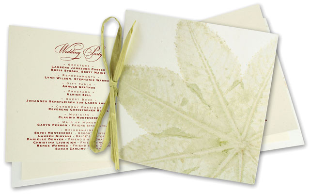 leaf wedding ceremony program by Helen on September 12 2009