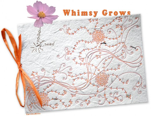 Whimsy Grows Plantable Wedding Invitations with Cosmo Seeds