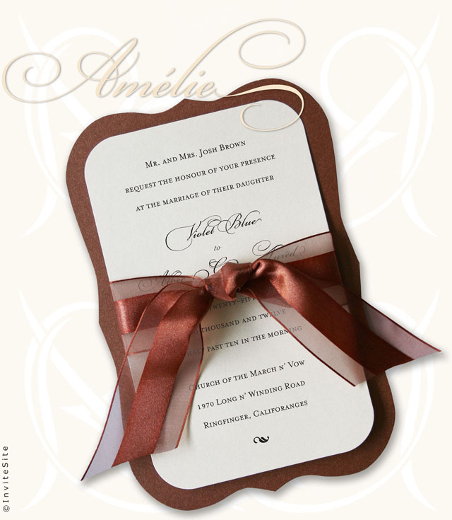 Am lie Vintage Wedding Invitations Layers Diecut More colors and ribbons