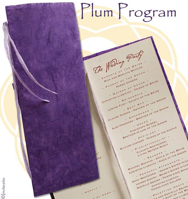 Purple DIY Wedding Program made from Treefree 100 PCW paper