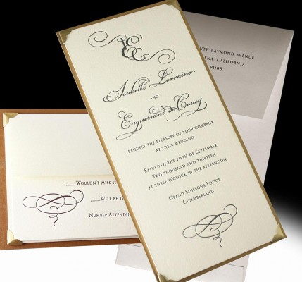 Monogram Letterpress Angelsey Wedding Invitation