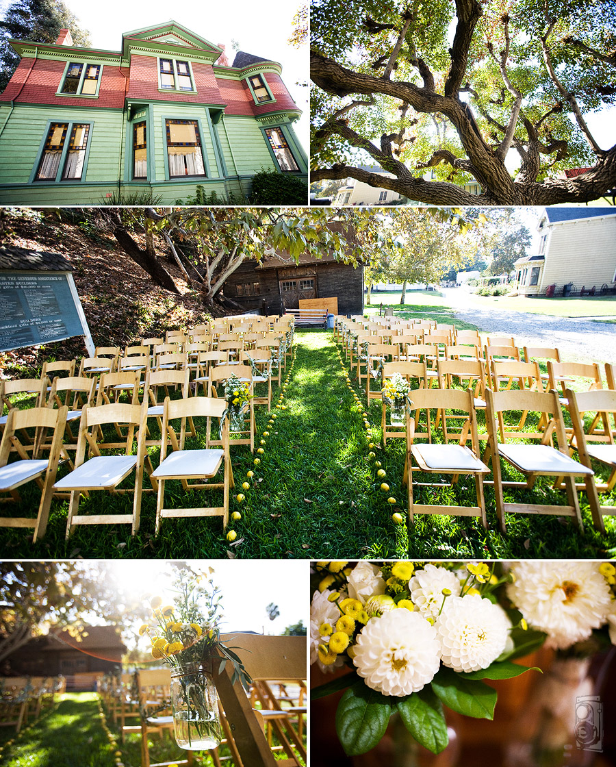 Collage of Heritage Square, ready for a wedding. Dana Grant Photography, Kristin + Chris Wedding. Look for vintage wedding invitations at InviteSite
