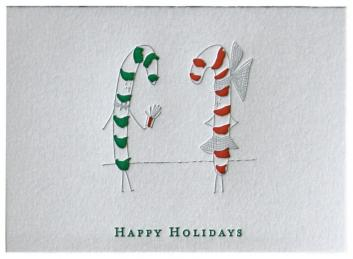 Candy Cane Couple Holiday Card